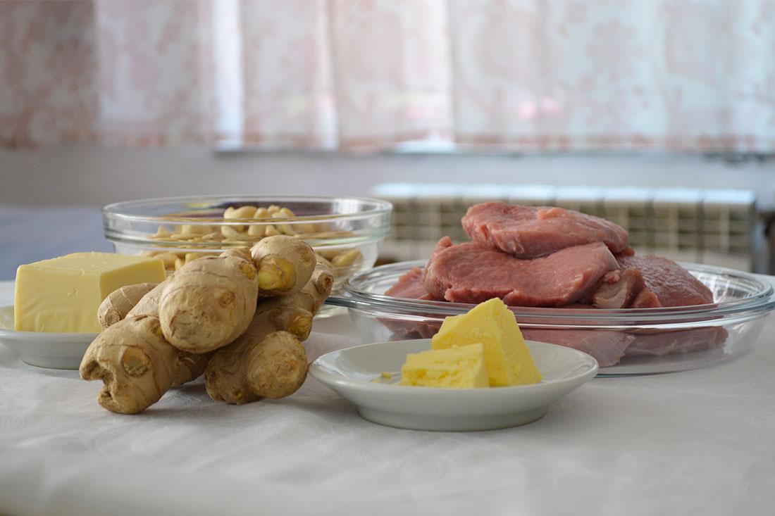 телешко с кашу и джинджифил - продукти