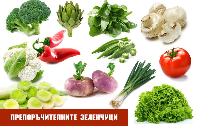 високомазнинно хранене - препоръчителни зеленчуци