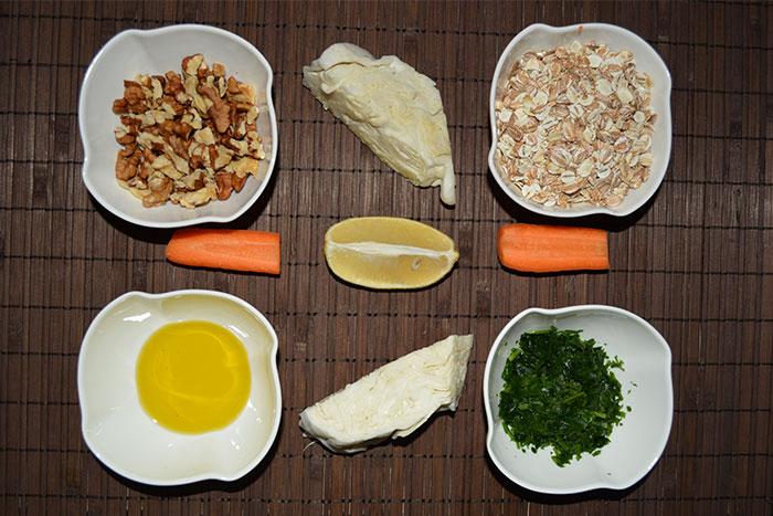 зърнени ядки с орехи, зеле и моркови